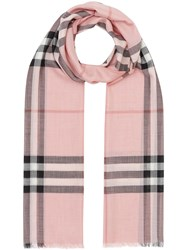 Burberry Lightweight Check Wool And Silk Scarf Pink