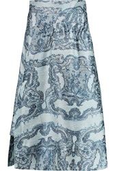 Michael Van Der Ham Kate Silk Jacquard Skirt Blue