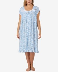 Eileen West Plus Size Lace Trimmed Printed Knit Nightgown Blue