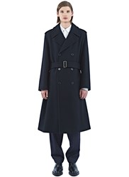 Marni Long Double Breasted Wool Coat Black