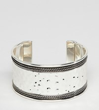 Asos Design Curve Exclusive Hammered And Engraved Cuff Bracelet Burnished Silver