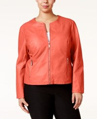 Alfani Plus Size Faux Leather Moto Jacket Only At Macy's Very Coral