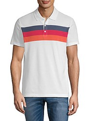 Perry Ellis Chest Stripe Polo Shirt Bright White