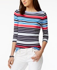 Tommy Hilfiger Cotton Striped Boat Neck Top Only At Macy's Navy Combo