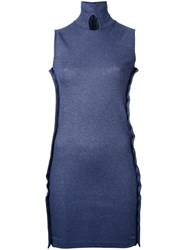 Christopher Esber Button Down Sleeveless Dress Women Polyester Viscose 10 Blue