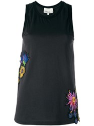 3.1 Phillip Lim Floral Embroidered Tank Top Black