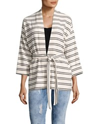 Ivanka Trump Striped Belted Cardigan Ivory Black