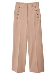 Mango Buttoned Flared Trousers Medium Brown
