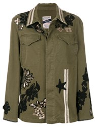 History Repeats Embroidered Detail Jacket Cotton Spandex Elastane Green