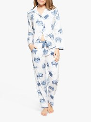 Cyberjammies Harper London Print Pyjama Set White Blue