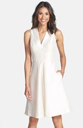 Women's Alfred Sung V Neck Dupioni Cocktail Dress Champagne