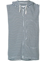 Engineered Garments Striped Sleeveless Hoodie Blue