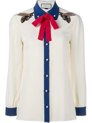 Gucci Embroidered Bee Detail Shirt White