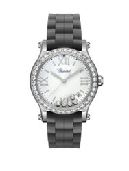 Chopard Happy Sport Diamond Stainless Steel And Rubber Strap Watch Black
