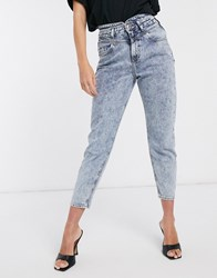 River Island Mom Jeans In Mid Acid Wash Blue