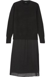 Joseph Glen Layered Wool And Cashmere Blend And Silk Crepe De Chine Dress Black