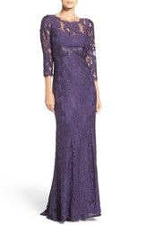 Adrianna Papell Women's Illusion Yoke Lace Gown Prune