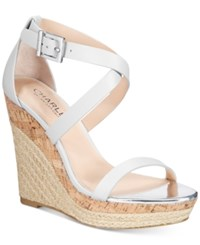 Charles By Charles David Aden Espadrille Platfrom Wedge Sandals Women's Shoes White