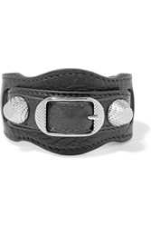 Balenciaga Giant Textured Leather And Silver Tone Bracelet Gray Silver