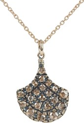 Fabrizio Riva Brown Diamond And White Gold Fan Pendant Necklace Colorles Colorless