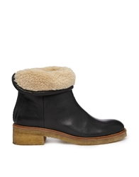 Bertie Purley Shearling Ankle Boots Black