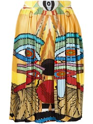 Givenchy Egyptian Print Pleated Skirt Yellow Orange