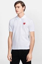 Comme Des Garcons Men's Play Pique Polo With Heart Applique White