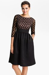Petite Women's Eliza J Dot Mesh Bodice Fit And Flare Dress Black