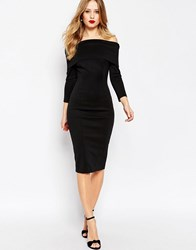 Asos Premium Scuba Deep Fold Off The Shoulder Bardot Midi Pencil Dress Black