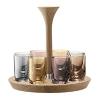 Lsa International Polka Assorted Vodka Shot Glasses Set Of 8 Metallic