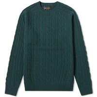 Beams Plus Cable Crew Knit Green