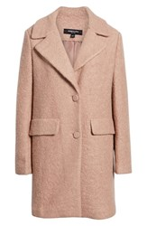 Kenneth Cole New York Wool Blend Boucle Coat Blush