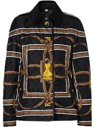Burberry Scarf Print Quilted Jacket Black