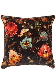 House Of Hackney Large Artemis Floral Velvet Pillow Black Multi