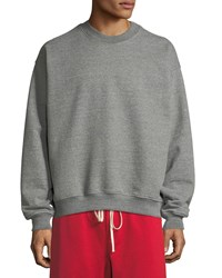 Fear Of God Long Sleeve Heathered Terry Crewneck Pullover Gray
