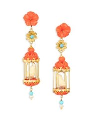 Of Rare Origin Aviary Classic Coral Turquoise Bone And Freshwater Pearl Drop Earrings