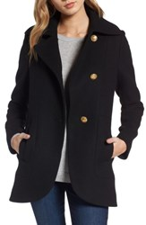 French Connection Women's Back Belt Wool Blend Peacoat Black