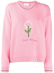 Giada Benincasa Embroidered Flower Jumper Pink