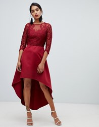 Chi Chi London Lace 2 In 1 Skater Dress With High Low Hem In Wine Red