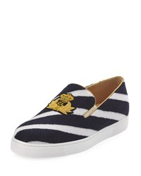 Christian Louboutin Boat Spa Flat Striped Red Sole Slip On Sneaker Navy Blue White Blue White