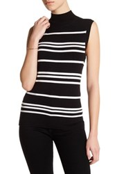 Susina Striped Sleeveless Mock Neck Knit Shirt Petite Black