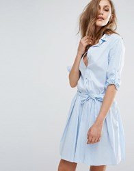 Boss Orange Pinstripe Shirt Dress Open Blue