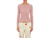 Giada Forte Women's Striped Cashmere Wool Long Sleeve T Shirt Cream Red White