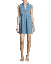 Current Elliott The Sleeveless Tuck Pleated Denim Dress Mid Day Women's Size 3 Mid Day W Raw He