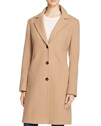 Calvin Klein Single Breasted Button Front Coat Camel