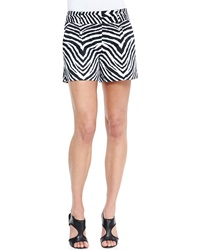 Milly Zebra Print Relaxed Twill Shorts