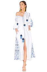 March 11 Long Sleeve Kilim Embroidered Tassel Maxi Dress White