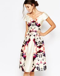Chi Chi London Plunge Neck Midi Prom Dress In Sateen Multiprint