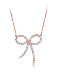 Diana M. Jewels 18K Rose Gold Pave Diamond Bow Pendant Necklace Women's