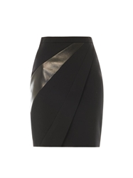 Saint Laurent Leather Panel Wool Crepe Skirt